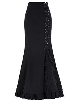 Gothic Victorian Steampunk Maxi Mermaid Corset Skirt Fishtail Ruffled Skirt Size L Black