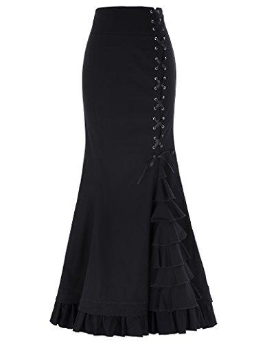 Black Gothic Victorian Steampunk Maxi Mermaid Corset Skirt Fishtail Size L Black