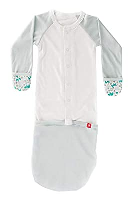 Goumijamms, Smart Baby Gown Made with Organic Material with Scratch Prevention Mitts and Foot Pockets (Forest Friends Aqua, 3-6 Months)