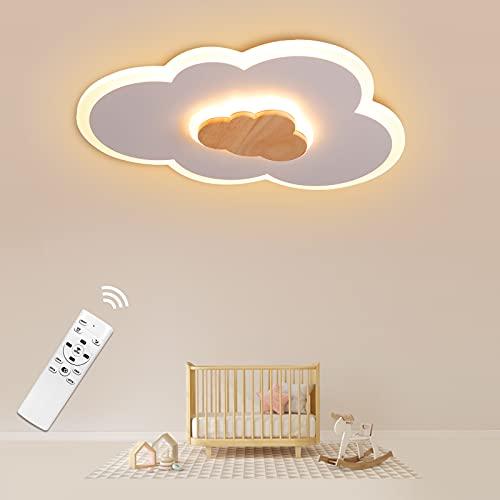 Plafoniera LED Cameretta Nuvole, 20W 40CM Lampada da Soffitto Dimmerabile con Telecomando, Plafoniera con Elementi in Legno Alla Moda per Camera da Letto e Soggiorno dei Bambini