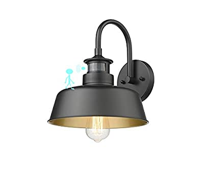 Rosient Farmhouse Wall Lights, Infrared Montion Sense Wall Mount Lights, Outdoor Wall Barn Lighting, Industrial Wall Sconces, Exterior Wall Lighting Fixture (Black Finish with Copper Interior, 1 Pack)
