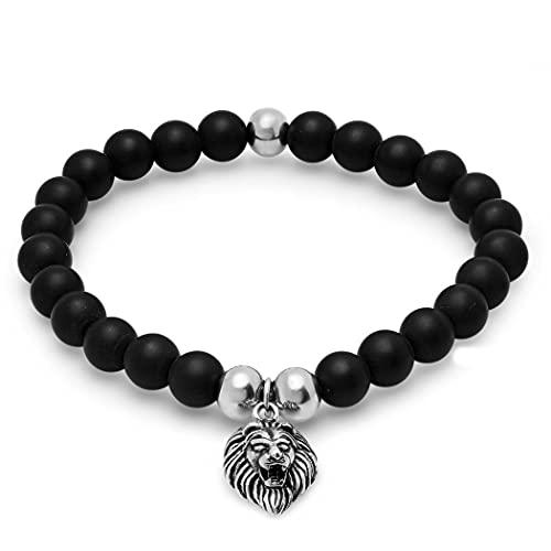 Pulsera elástica de acero inoxidable para hombre con cuentas negras y signo del zodiaco Leo León Leo León