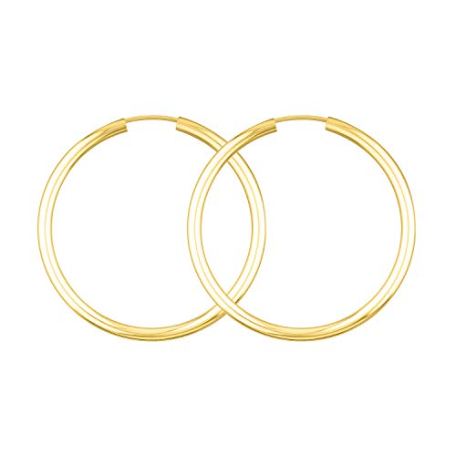 Creolen Echt Gold 40 mm 585 aus Gelbgold, Damen Ohrringe Gold mit Stempel, Breite 2,5 mm, Gewicht ca. 2.4 g, Made in Germany
