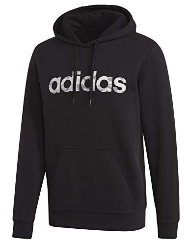 adidas Herren Camo Linear Hoodie, Black/White, XL