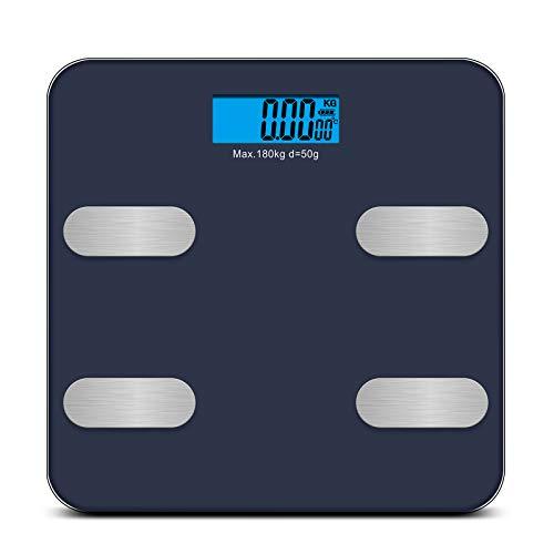 Redkey Body Bluetooth Fat Scale con pantalla LCD, peso máximo 180 kg. Puede monitor 18 datos de restablecimiento en forma tal como la grasa corporal el IMC el peso y el músculo esqueleto-azul