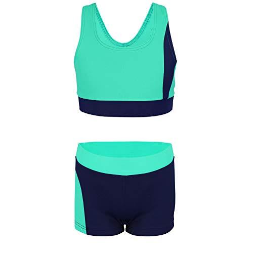 Aquarti Mädchen Sport Bikini - Racerback Bustier & Badehose, Farbe: Dunkelblau/Grün, Größe: 158