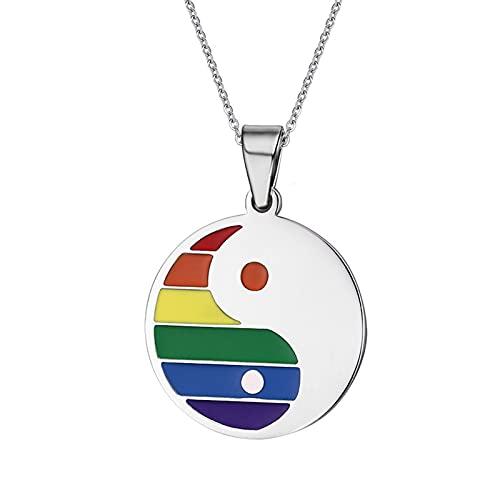 Revilium Collar con Colgante De Yin Yang De Arco Iris De Acero Inoxidable para Hombres Y Mujeres para Cadena De Orgullo Lésbico Gay
