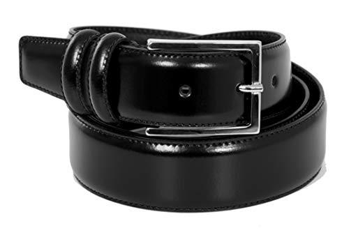 Cintura Uomo in Vera pelle lucida di alta qualità doppio passante - 100% Made in Italy - 35mm (115cm Girovita – 130cm Lunghezza totale, Cuoio)