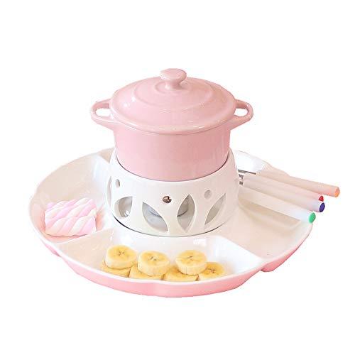 Nette keramische Porzellan-Eiscreme-Käse-Butter-Schokoladen-Fondue-Set mit 4 Gabeln und Deckel-Rosa