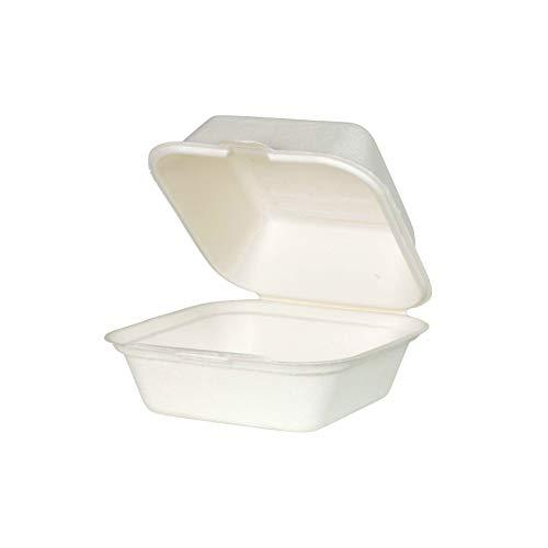Zuckerrohr Burger Box  Take Away Lunch Box  Bio Einwegschale Einweggeshirr (50, 14,3 x 15 x 8,2 cm - Quadratisch)