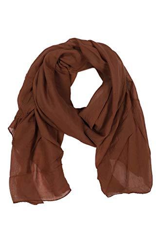 Zwillingsherz Panno di seta per donne e ragazze, accessorio elegante, in cotone, sciarpa, foulard, fazzoletto da spalla o foulard marrone Taglia unica