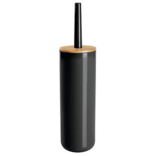 mDesign Escobilla de baño delgada de plástico y bambú – Clásica escobilla de váter para el cuarto de baño y aseo – Práctico cepillo para WC con portaescobilla – negro/color madera