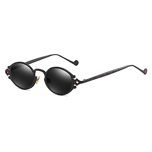 WANGZX Gafas De Sol para Hombre Gafas Steampunk Retro para Mujer Gafas De Sol Góticas con Montura De Metal Ovalado Gafas De Sol Talladas C1Negro-Negro