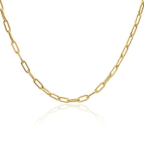 WILD SUN Gliederkette Gold Damen ohne Anhänger   Filigrane Choker Chain Halskette für Frauen   Hochwertige Goldene Kette aus 316 Edelstahl mit 18K vergoldet