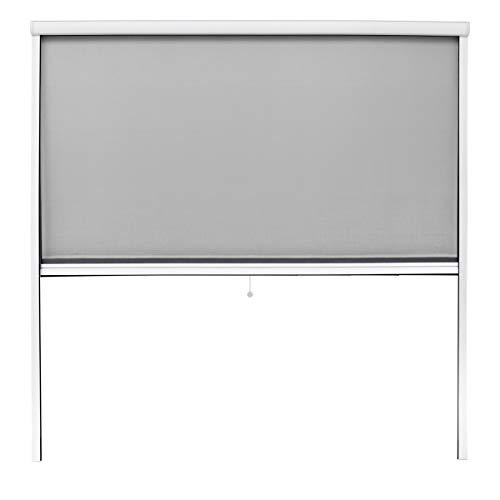 ECD Germany Mosquitera Enrollable para Ventana Color Marco Blanco Resistente a la Intemperie 160 x 160 cm Tela de Fibra de Vidrio Armazón de Aluminio Malla Protectora Hogar contra Insectos Mosquitos