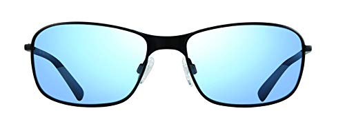 Revo Polarized Sunglasses Decoy Rectangle Frame 60 mm, Black Frame, Blue Water