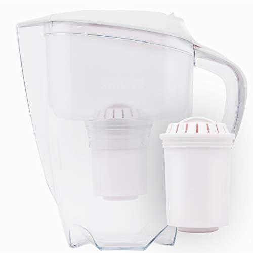Philips Aqua Solutions Wasserfilter-Karaffe gegen Kalk, Blei, Chlor, Pestizide, Mikro-Plastik, Filter mit Aktivkohle, Mikrofiltration, weiß, AWP2920