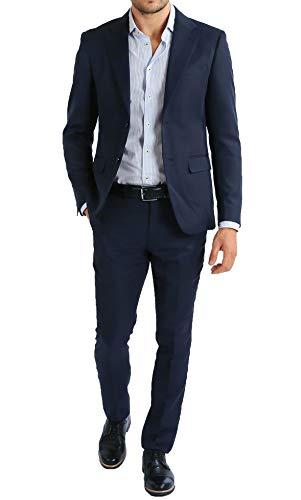 Abito Completo Uomo Giacca con Pantaloni Elegante Casual (54, Blu Scuro)