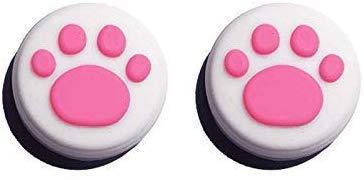 Carcasa de silicona para pulgar analógica, para mando de Nintendo Switch NX NS Joy-Con (2 unidades, color blanco y rosa, diseño de pata de gato)