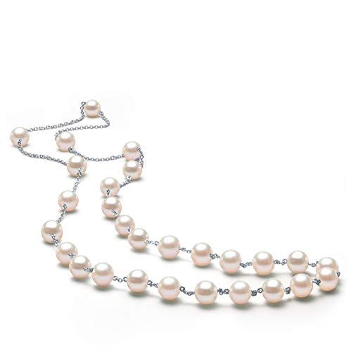 AnaZoz Collares Mujer Plata de Ley 925 Colgante Collar Mujer Colgante Mujer Perla Collar Colgante Mujer Longitud 50CM
