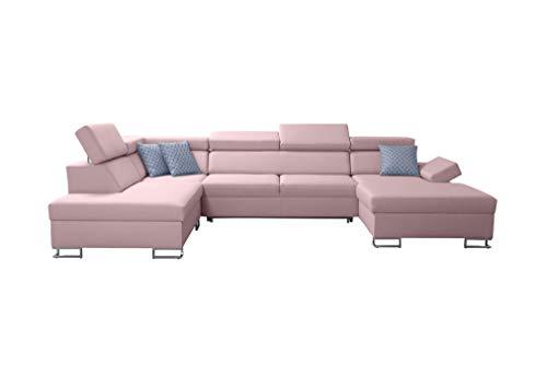 all4all Ecksofa Wohnlandschaft Morena VI Polstersofa XXL Big Sofa mit Bettkasten Gewebe Grau Schwarz Blau Braun 26 (RECHTS)