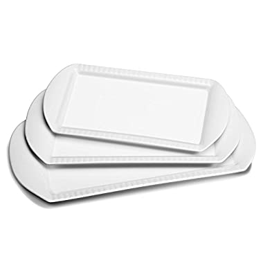 Lifver 15-inch Porcelain Embossed Rectangular Platter/Serving Plates, Set of 3, White
