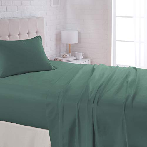 AmazonBasics Lightweight Super Soft Easy Care Microfiber Bed Sheet Set with 16' Deep Pockets - Twin, Emerald Green