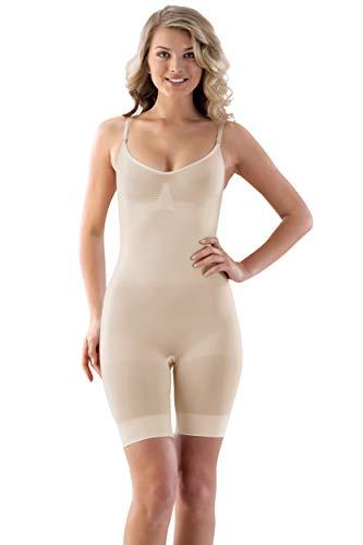VEDATS Damen Shapewear Body Figurformend Miederbody Ganzkörper Shaper Bauch-Weg (L, Hautfarben)