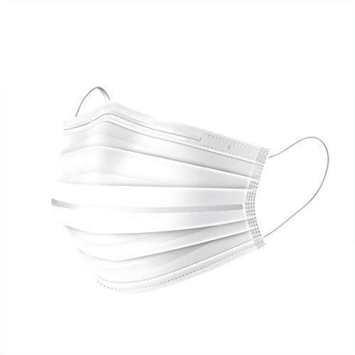 Einweg-3-Lagig Atemfilter Doppelter Nasenstreifen Dreidimensional Gesicht schützen Mund-Nasen-Schutz Filter Anti Staub Sonnenschutz Atmungsaktiv Damen Herren 5PC/10PC/20PC/30PC/50PC (Weiß)