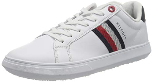 Tommy Hilfiger Herren Essential Leather Cupsole Sneaker, weiß, 40 EU
