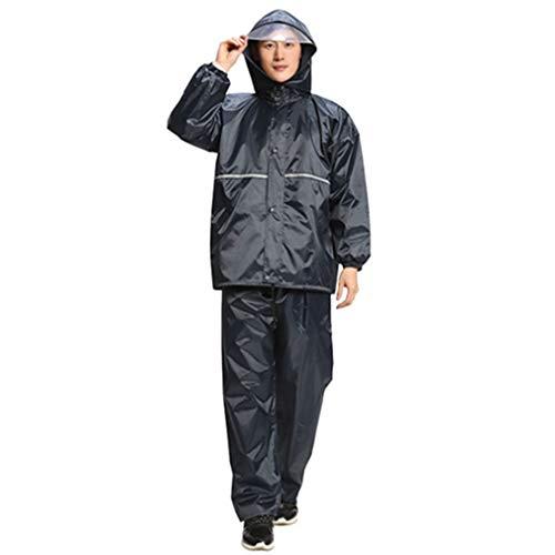 Egurs Waterdichte motorjas voor heren, met reflecterende hoed voor dames, split jack en broek voor buitenshuis, veiligheid en regenkleding