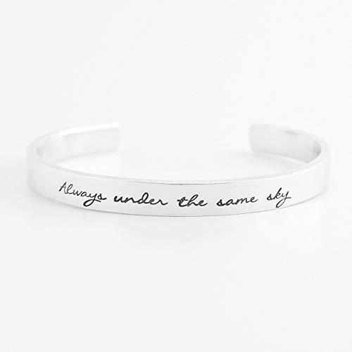 Always Under the Same Sky Hand Stamped Skinny Cuff Bracelet - Aluminum