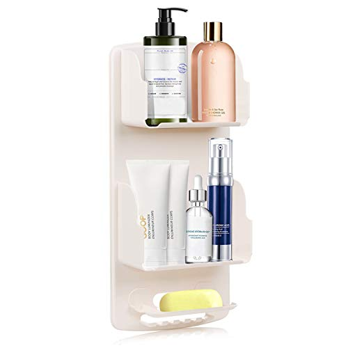 Beetwo Shower Caddy Shelf Organizer Hanging with Hooks, Adhesive Bathroom Shower Rack, Wall Mounted Storage Basket No Drilling for Shampoo, Conditioner, Facial cleanser, Razors,Soap