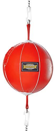 Bad Company Doppelendball aus Leder inkl. elastischen Spanngurten I 25 cm Durchmesser I Boxball für das Reflex- und Boxtraining – Rot