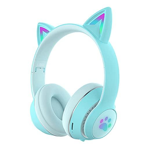 HANBING Auriculares Bluetooth, auriculares inalámbricos con orejas de gato, orejas de gato, luces LED, inalámbricas, plegables, con micrófono, para teléfonos inteligentes/laptop/PC