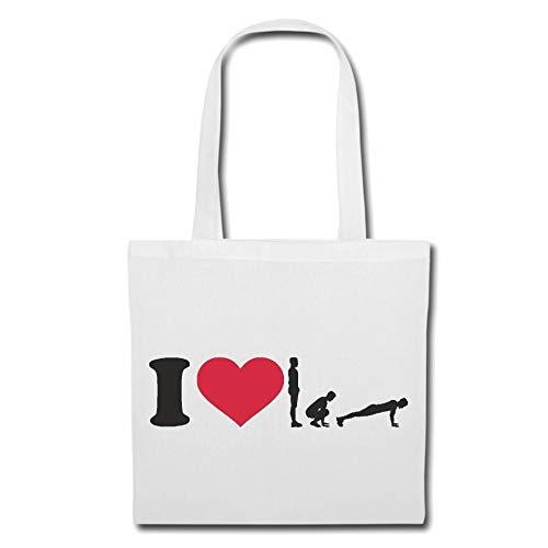 Tasche Umhängetasche I Love Fitness - Gymnastik - Sport - Gesundheit - DIÄT Einkaufstasche Schulbeutel Turnbeutel in Weiß