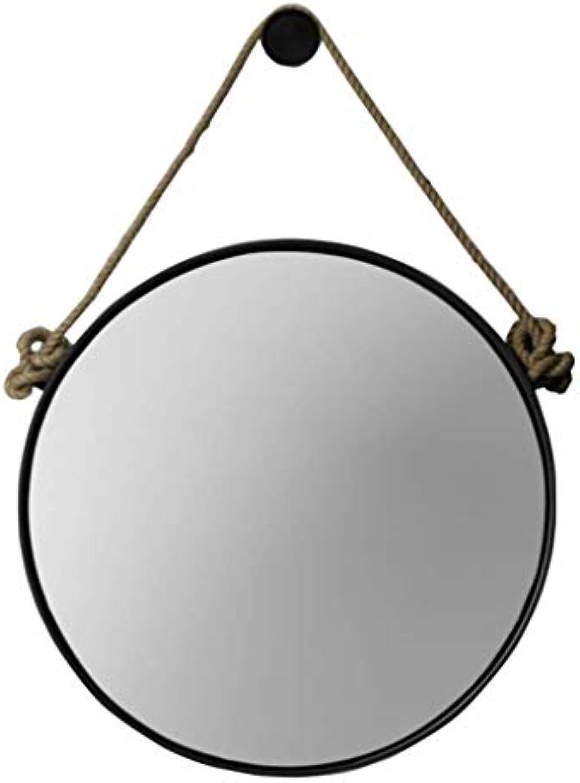 Retro Metall Wandbehang Spiegel mit Hanfseil Runde dekorative Badezimmer Spiegel kreative Make-up Rasieren Eisen Spiegel gro (Farbe   SCHWARZ, gre   60cm)