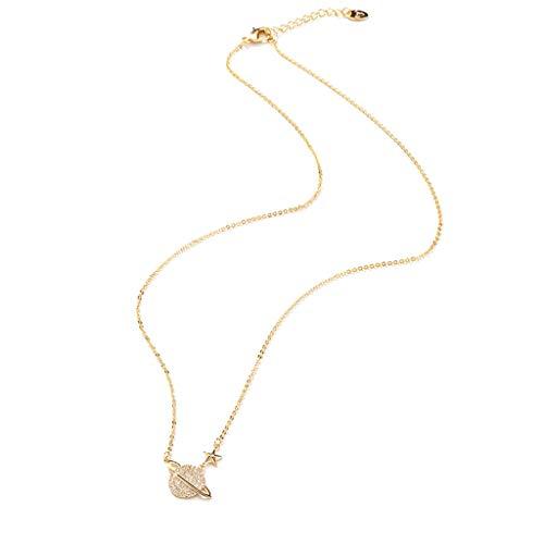 Collares de circonio planeta colgante collar para mujer aleación micro incrustado 5A collar de circonio para mamá niñas, exquisito excelente regalo de moda - collares de oro para hombre/mujer