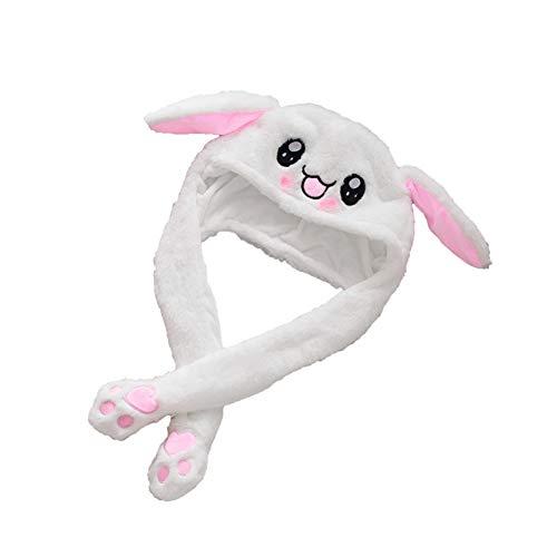 Ruiting Sombrero de Conejo Felpa,Gorro de Oreja de Conejo Peluche con Oreja Saltar Movible Juego Sombrero de Algodón Creativo Regalo de Cumpleaños para Bebés Niños Amigos
