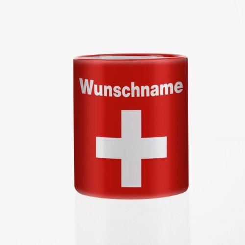 Herz & Heim® Tasse mit Wunschnamen und Flagge - Schweiz -