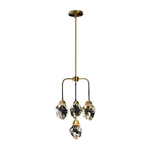 LLLKKK Candelabro de cristal de latón G4 * 4, luz cálida de lujo, lámpara de techo LED, decoración principal, salón, dormitorio, comedor, estudio, diámetro 38 × 45 cm