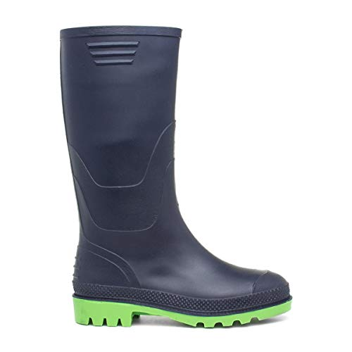 Zone - Kids Navy and Lime Welly Boot Kids Size 8 to13 - Size 13 Child UK - Blue