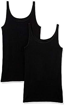 Amazon Essentials Women s 2-Pack Slim-fit Thin Strap Tank Black/Black Small