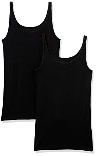 Amazon Essentials 2-Pack Thin Strap Tank-top-and-cami-Shirts, schwarz/schwarz, US S (EU S - M)