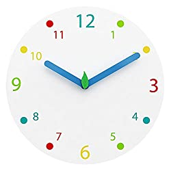 JoFomp Colorful Kids Wall Clock, 12 Silent Non Ticking Quartz Battery Operated Wooden Decoration Wall Clocks, Easy to Read Multi Colored Numbers, Perfect for Kids Room, Playroom, Bedroom (Colorful)