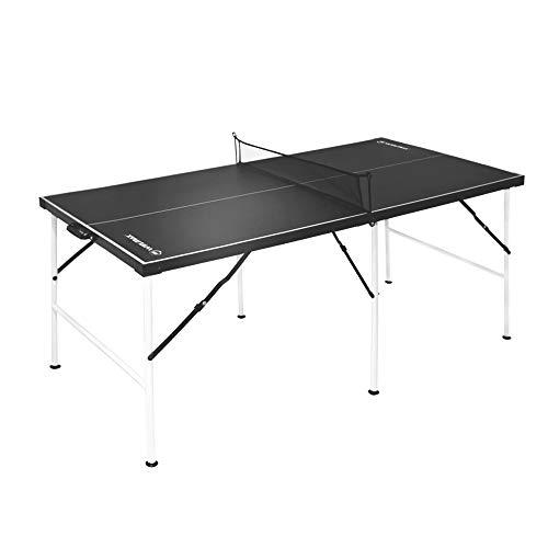 WIN.MAX Tischtennisplatte Midsize, Klappbare Tischtennistisch mit Netz HBT: 152.4 x 73 x 69 cm, TT-Platte für Indoor & Outdoor, Schwarz