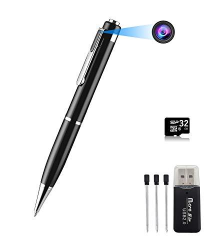 【ペンカメラ 32GBカード付き 1080P 隠しカメラ 】超小型カメラ 高画質 ペン型カメラ 上書き録画可能 長時間録画 録音 写真 カメラ付きペン 防犯用 会議 商談 証拠撮影 ペン型ビデオカメラ 充電しながら録画