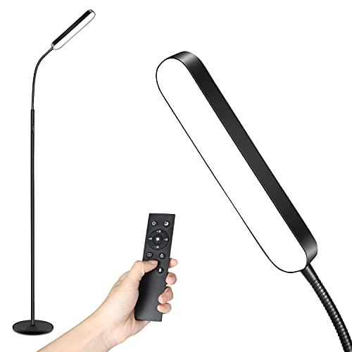 Totofac Lámpara de Pie Dimmer, 12W LED Lámparas de Pie de Cuello de Cisne Ajustable,,4 Temperaturas de Color con Control Remoto y Táctil,para Sala de Estar, Dormitorio, Oficina