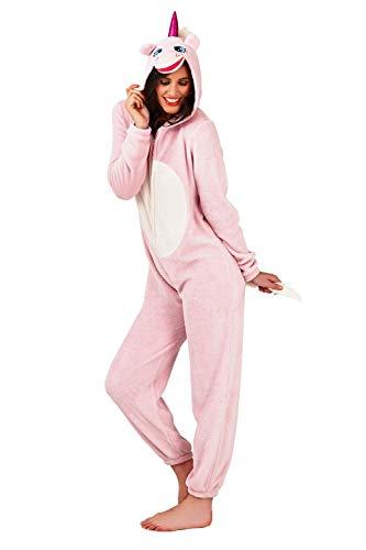Loungeable, Damen Luxus 3D Einhorn Alles in Einem Jumpsuit Einteiler, Pink, EU 44-46