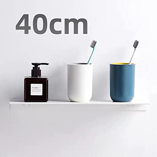Estantes de baño Negros Soporte Cuadrado de Aluminio Estante de champú para baño montado en la Pared Estantes de cosméticos Estantes de Almacenamiento Hardware - Blanco 40cm